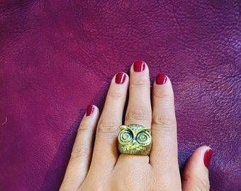 Brass Gold Owl Ring