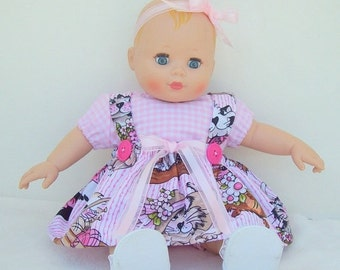 Happy Valentines Day Baby Doll Romper Set with Pink and White Checkered Outfit and Cat Print Pinafore for 12 to 14 inch Baby Dolls