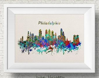 Philadelphia Skyline, Print, Watercolor Print, Philadelphia Wall Art, Watercolor Art, City Poster, Cityscape, Home Decor, Easter Decorations