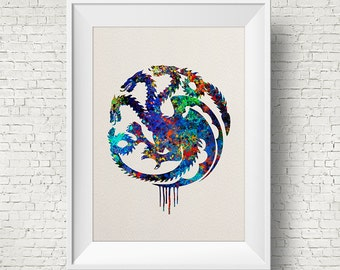 House Targaryen Watercolor Print, Game Of Thrones art, watercolor art, Game Of Thrones print,movie poster,Game Of Thrones Illustration