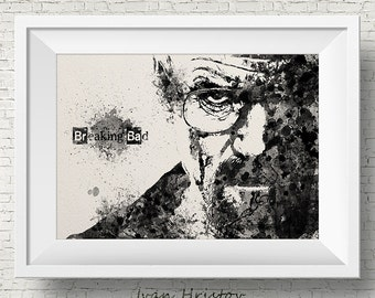 Walter White Mr White Heisenberg Breaking Bad Watercolor Art Print Wall Art Poster Giclee Wall Decor Art Home Decor Wall Hanging