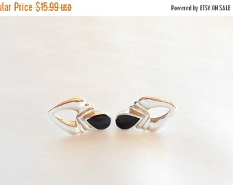 Biggest Sale Ever Sterling Silver and Black Onyx Earrings Pierced