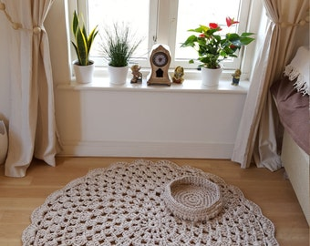 Crocheted Doily Rug with a Matching Basket FREE Delivery (UK only)