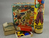 Vintage Collection of Games Express Train Pepys Game TiddlyWinks Counter and Balloon Pump Not Complete