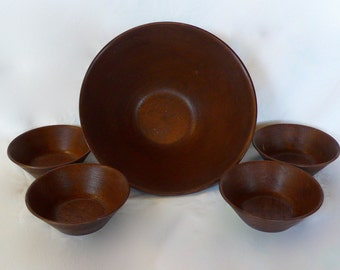 Vintage Faux Wood Grain Salad Bowl Thermo-Serv Plastic Salad Serving 5 Piece set Bowl Weave Wood Parttern
