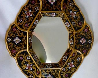 Vinage Reverse Painted Glass Mirror, 'Ebony Garden' Octagon Floral Hand Painted Artist Asunta Pelaez