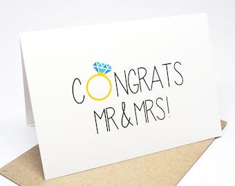 Wedding Card Congratulations - Congrats Mr & Mrs - WED041
