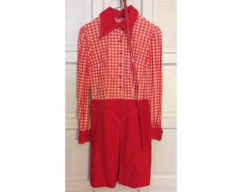 Vintage womens 1970s belted plaid polyester dress
