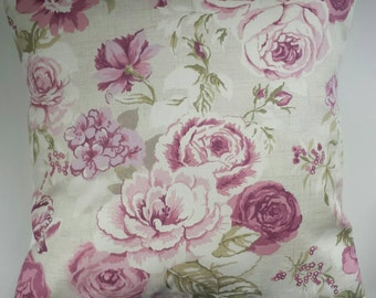 "Shabby Chic Cushion Cover in Vintage Purple Roses 14"" 16"" 18"" 20"""