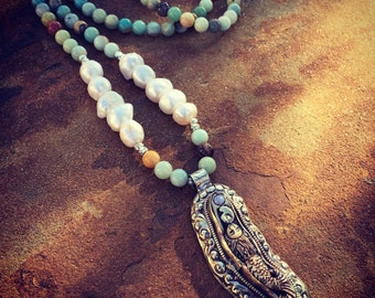 Long Boho Amazonite and Pearl Mermaid Necklace and Earring Set