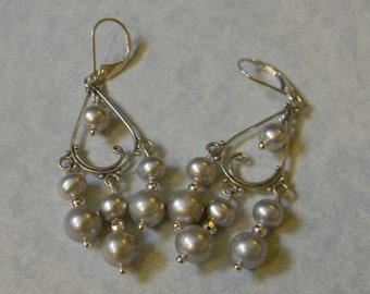 Gray Potato Pearl and Silver Bead Chandelier Earrings