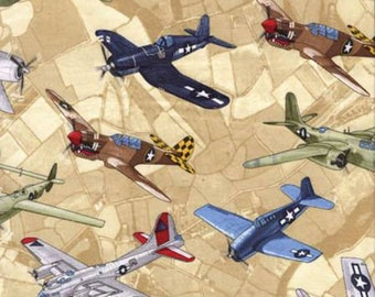 KANVAS by Benartex fabric WW II Planes on Cream