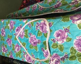 1950s Vintage QUILED ROBE by Fruit of the Loom Turquoise & Purple Floral Print HEART-Shaped Pockets New Old Stock
