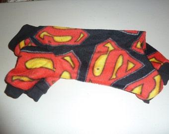 S, M, or L PJs, Fleece Doggy Pajamas, Superman Doggy Pajamas, Superhero Pajamas, Superman PJs, Winter doggy Pajamas, Doggy Onesies