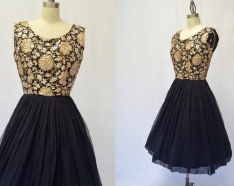 Vintage Black Gold and Silver Brocade Chiffon 1950s  Full Skirt Cocktail Dress