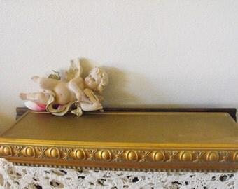 Ornate Floating Shelf - Gold leaf look - distressed - Antiqued -18 x 6 - Hollywood Regency - Paris Apartment- ORNATE shelf