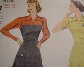 RESERVED Vintage 1940's Simplicity 4078 Dress Sewing Pattern, Size 14, Bust 32