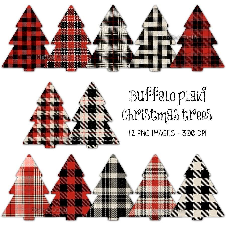 Buffalo Plaid Christmas Tree Clip Art Set Red By Digitalfield