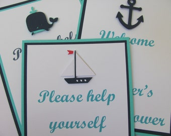 Nautical Baby Shower Signs, Whale, Anchor and Boat, Set of 3. 5x7 or 8x10