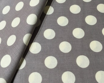 Le Creme Medium Gray with Cream Dot Fabric by Riley Blake