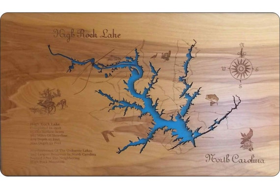 Wood Laser Cut Map Of High Rock Lake Nc Topographical Engraved