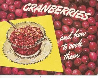 Vintage 1950's Eatmor Cranberries Cookbook