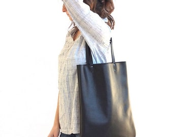 Black Leather Handbag, Leather Tote Bag, Black Leather Shoulder Bag