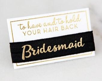 Bridesmaid Hair Ties, Hair Tie Favors, Bridesmaid Hair Bands, Elastic Hair Ties, To Have and To Hold Your Hair Back, Bridesmaid Gifts, Gold