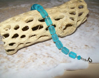 Turquoise blue sea glass bracelet, free shipping in US