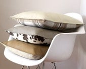 two tone leather pillow cover - creamy grey leather & mod