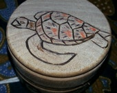 Trinket Box Pyrographic Sea Turtle