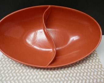 Orange Melmac Divided Serving Bowl Spaulding Mid Century Kitchenware