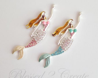 2 Pink and Blue Mermaid Rhinestone Embellishments