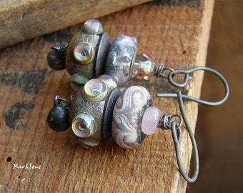 Rustic earrings-tribal earrings-organic style earrings-handcrafted lampwork bead-primitive style-organic mood-rustic vibe-pink and gray-bell
