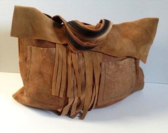 HANDMADE TOTE BAG,Edgy Handbag, Hobo Bag,Handcrafted faux leather handbag,Fringed Bag