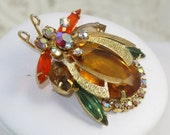 Vintage D&E Juliana Rhinestone Lace Wing Insect Bug Brooch Book Piece!