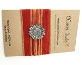 Red Silk Wrap Bracelet with Sunflower Button
