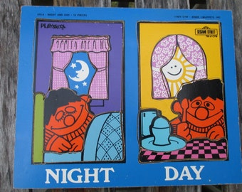 Ernie 1974 Playskool Wood Tray Puzzle//Sesame Street