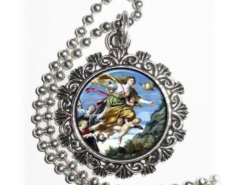 Mary Magdalene Taken up to Heaven Art Pendant, Angels Resin Pendant, Domenichino Art, Photo Pendant Charm