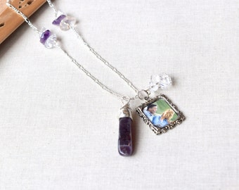 Silver Photo Charm Necklace with Purple Amethyst and Clear Quartz Crystals