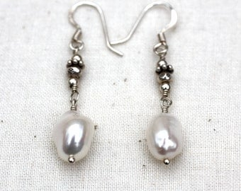 Pearl Drop Earrings by BellaCornicello. Pearl Earrings. Modern Cultured Pearls for Mom. Mothers Day Gift of Pearls. Pearls and Silver.