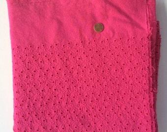 Fabric destash, cotton lace fabric, magenta cotton eyelet, cotton eyelet fabric.