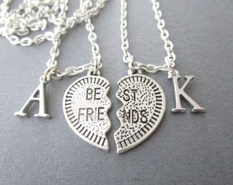 2 Best Friends Split Heart, Initial Necklaces/ Best Friend Necklace, Best Friend Gift, Best Friend jewelry