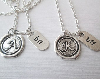 BFF Necklace, 2 Initial Necklaces/ Friendship, friendship gift, friend necklace, friend, friend jewelry, friend gift