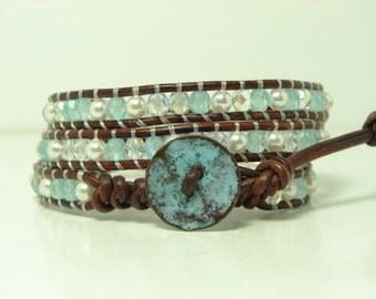 Blue Green Beaded Leather Wrap Bracelet, Triple Wrap Bracelet, Swarovski Pearl Wrap Bracelet