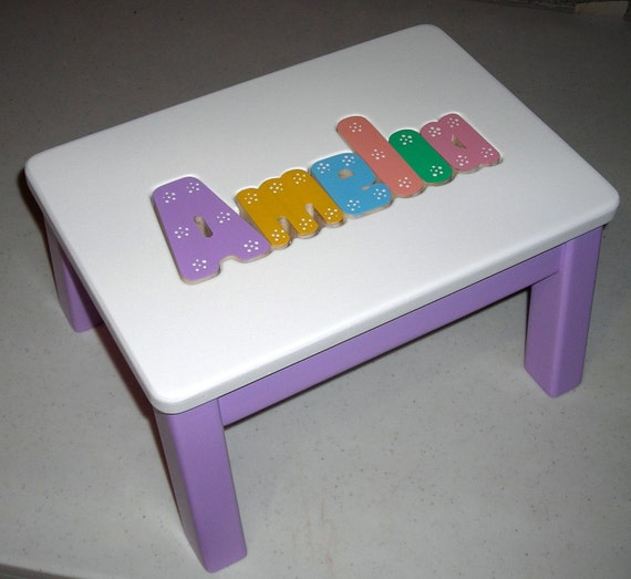 Wooden Personalized Wooden Name Puzzle Step Stool Medium