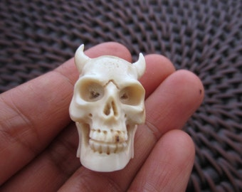Intricate carve Devil  skull  from deer antler, 3-D Skull ,not top to bottom, Jewelry making supplies B6071-D