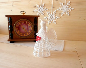 White crochet Christmas Angel Handmade Christmas tree topper Angel ornament figurine Wall Hanging decoration, Christmas decoration