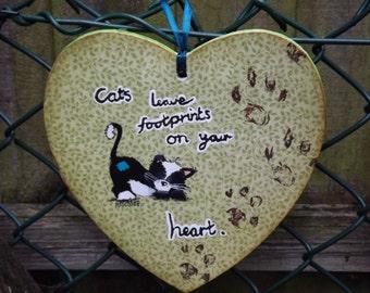 cat wooden heart