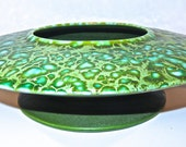Atomic Salt Glaze Vase Mid Century Olive and Teal, Freeman- McFarlin Originals Kaleidescope Art Vase